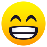 Beaming Face with Smiling Eyes on JoyPixels 6.6