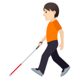 Person with White Cane: Light Skin Tone on JoyPixels 6.6
