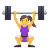 Woman Lifting Weights on JoyPixels 6.6