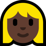 Woman: Dark Skin Tone, Blond Hair on Microsoft Windows 10 Fall Creators Update