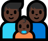 Family - Man: Dark Skin Tone, Man: Dark Skin Tone, Baby: Dark Skin Tone on Microsoft Windows 10 Fall Creators Update