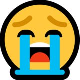 Loudly Crying Face on Microsoft Windows 10 Fall Creators Update