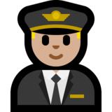 Man Pilot: Medium-Light Skin Tone on Microsoft Windows 10 Fall Creators Update
