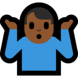 Man Shrugging: Medium-Dark Skin Tone on Microsoft Windows 10 Fall Creators Update