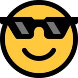 Smiling Face With Sunglasses on Microsoft Windows 10 Fall Creators Update