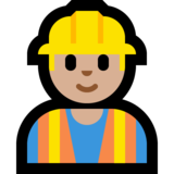 Construction Worker: Medium-Light Skin Tone on Microsoft Windows 10 April 2018 Update