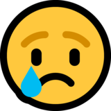 Crying Face on Microsoft Windows 10 April 2018 Update