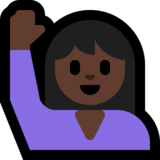 Person Raising Hand: Dark Skin Tone on Microsoft Windows 10 April 2018 Update
