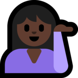 Person Tipping Hand: Dark Skin Tone on Microsoft Windows 10 April 2018 Update