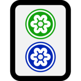 Mahjong Tile Two of Circles on Microsoft Windows 10 April 2018 Update