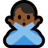 Man Gesturing No: Medium-Dark Skin Tone on Microsoft Windows 10 April 2018 Update