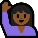 Woman Raising Hand: Medium-Dark Skin Tone on Microsoft Windows 10 April 2018 Update