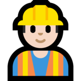 Construction Worker: Light Skin Tone on Microsoft Windows 10 October 2018 Update