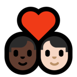 Couple with Heart: Man, Man, Dark Skin Tone, Light Skin Tone on Microsoft Windows 10 October 2018 Update