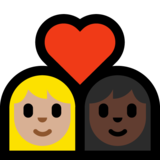 Couple with Heart: Woman, Woman, Medium-Light Skin Tone, Dark Skin Tone on Microsoft Windows 10 October 2018 Update