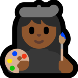 Woman Artist: Medium-Dark Skin Tone on Microsoft Windows 10 October 2018 Update