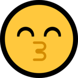 Kissing Face with Smiling Eyes on Microsoft Windows 10 October 2018 Update