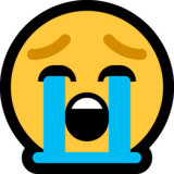 Loudly Crying Face on Microsoft Windows 10 October 2018 Update
