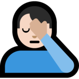 Man Facepalming: Light Skin Tone on Microsoft Windows 10 October 2018 Update