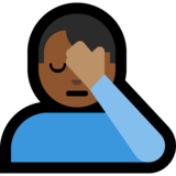 Man Facepalming: Medium-Dark Skin Tone on Microsoft Windows 10 October 2018 Update