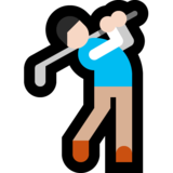 Man Golfing: Light Skin Tone on Microsoft Windows 10 October 2018 Update