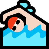 Man Swimming: Light Skin Tone on Microsoft Windows 10 October 2018 Update