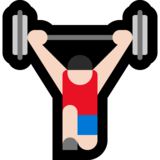 Man Lifting Weights: Light Skin Tone on Microsoft Windows 10 October 2018 Update