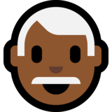 Man: Medium-Dark Skin Tone, White Hair on Microsoft Windows 10 October 2018 Update