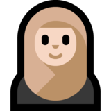 Woman With Headscarf: Light Skin Tone on Microsoft Windows 10 October 2018 Update