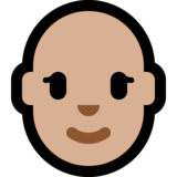 Woman: Medium-Light Skin Tone, Bald on Microsoft Windows 10 October 2018 Update