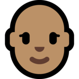 Woman: Medium Skin Tone, Bald on Microsoft Windows 10 October 2018 Update