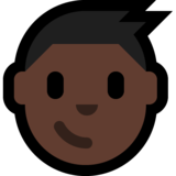 Boy: Dark Skin Tone on Microsoft Windows 10 May 2019 Update