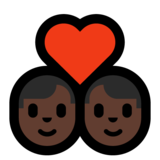 Couple with Heart: Man, Man, Dark Skin Tone on Microsoft Windows 10 May 2019 Update
