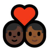Couple with Heart: Man, Man, Dark Skin Tone, Medium-Dark Skin Tone on Microsoft Windows 10 May 2019 Update
