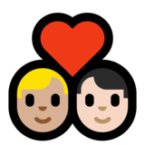 Couple with Heart: Man, Man, Medium-Light Skin Tone, Light Skin Tone on Microsoft Windows 10 May 2019 Update