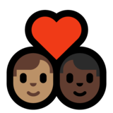 Couple with Heart: Man, Man, Medium Skin Tone, Dark Skin Tone on Microsoft Windows 10 May 2019 Update