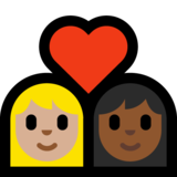 Couple with Heart: Woman, Woman, Medium-Light Skin Tone, Medium-Dark Skin Tone on Microsoft Windows 10 May 2019 Update