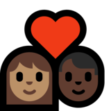 Couple with Heart: Woman, Man, Medium Skin Tone, Dark Skin Tone on Microsoft Windows 10 May 2019 Update