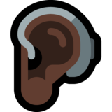 Ear with Hearing Aid: Dark Skin Tone on Microsoft Windows 10 May 2019 Update