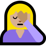 Person Facepalming: Medium-Light Skin Tone on Microsoft Windows 10 May 2019 Update