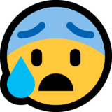 Anxious Face with Sweat on Microsoft Windows 10 May 2019 Update