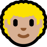 Man: Medium-Light Skin Tone, Curly Hair on Microsoft Windows 10 May 2019 Update