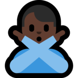 Man Gesturing No: Dark Skin Tone on Microsoft Windows 10 May 2019 Update