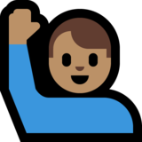 Man Raising Hand: Medium Skin Tone on Microsoft Windows 10 May 2019 Update