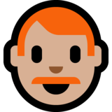 Man: Medium-Light Skin Tone, Red Hair on Microsoft Windows 10 May 2019 Update