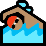 Man Swimming: Medium Skin Tone on Microsoft Windows 10 May 2019 Update