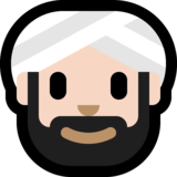 Man Wearing Turban: Light Skin Tone on Microsoft Windows 10 May 2019 Update