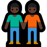 People Holding Hands: Dark Skin Tone on Microsoft Windows 10 May 2019 Update