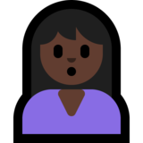 Person Pouting: Dark Skin Tone on Microsoft Windows 10 May 2019 Update