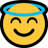 Smiling Face with Halo on Microsoft Windows 10 May 2019 Update